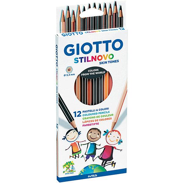 GIOTTO Карандаши GIOTTO имитирующие оттенки кожи человека, 12 штук карандаши восковые мелки пастель giotto stilnovo cancellab temp gom 10 цветных с индивидуальным ластиком