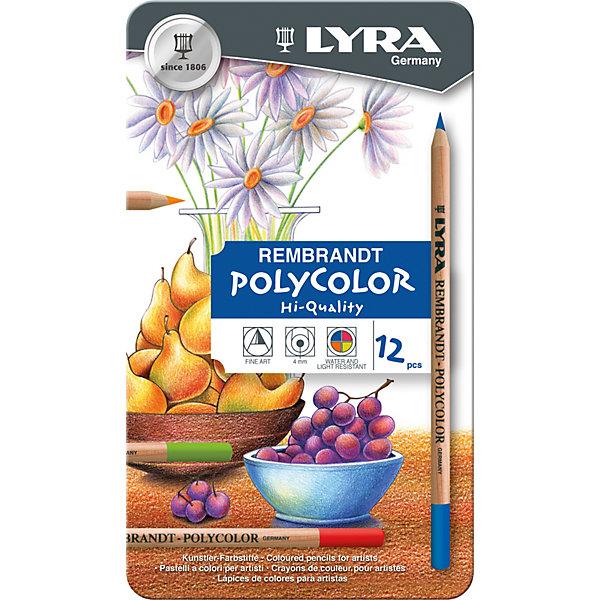 LYRA Профессиональные художественные карандаши POLYCOLOR, 12 цветов набор д творчества lyra graphite set карандаши художественные ластик пастель 11 предм в метал короб l2041111