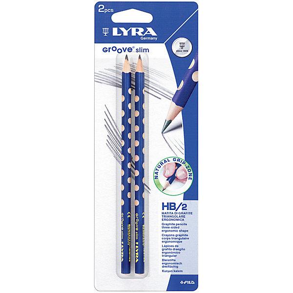 Чернографитные карандаши LYRA с эргономичным захватом, 2 штукиКарандаши<br>Характеристики товара:<br><br>• возраст: от 3 лет;<br>• количество: 2;<br>• материал: дерево;<br>• размер упаковки: 24х9х1 см;<br>• вес упаковки: 56 гр.;<br>• страна бренда: Германия.<br><br>Чернографитные карандаши Lyra Groove Slim Graphite с эргономичным захватом по всей длине, основа любого начинания. Имеют прочный графитовый стержень, не ломаются и не крошатся, а деревянный корпус легко затачивается. Мягкость HB.<br><br>Чернографитные карандаши LYRA с эргономичным захватом можно купить в нашем интернет-магазине.<br>Ширина мм: 83; Глубина мм: 9; Высота мм: 238; Вес г: 26; Цвет: черный; Возраст от месяцев: 36; Возраст до месяцев: 2147483647; Пол: Унисекс; Возраст: Детский; SKU: 8004683;