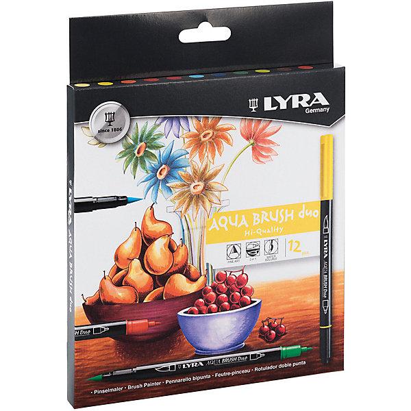 LYRA Фломастеры Aqua Brush Duo двойные с эффектом рисунка кистью, 12 цветов фломастер двойной lyra лира aqua brush duo светло оранжевый с эффектом рисунка кистью