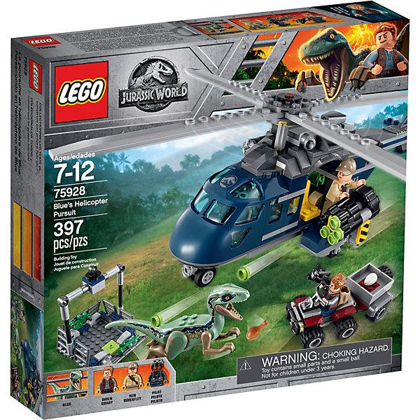Конструктор LEGO Jurassic World 75928: Погоня за Блю на вертолётеLEGO<br>Характеристики:<br><br>• возраст: от 7 лет;<br>• материал: пластик:<br>• серия Lego: Jurassic World;<br>• количество деталей: 397;<br>• количество мини-фигурок: 3;<br>• размер вертолета: 11х27х20 см;<br>• размер квадроцикла: 4х10х4 см;<br>• размер клетки: 10х12х12 см;<br>• вес упаковки: 630 гр.;<br>• размер упаковки: 27х25х5 см;<br>• страна бренда: Дания.<br><br>Конструктор LEGO Jurassic World 75928: «Погоня за Блю на вертолёте» включает фигурки Оуэна Грейди из фильма «Парк Юрского периода», Уитли и пилота, а также велоцираптора. Быстрый динозавр убегает со всех ног, но работники парка обязаны поймать его и взять яйца с невылупившимися динозаврами. В погоне участвуют вертолет и квадроцикл, для велоцираптора уже готова клетка.<br><br>Особенности и функционал:<br><br>• у фигурок подвижные ручки и ножки;<br>• у динозавра подвижные лапы и челюсти;<br>• сетка клетки опускается и поднимается, клетку можно подвесить за лебедку на вертолете;<br>• лопасти вертолета крутятся;<br>• на вертолете есть шутер и место под сейф с яйцом;<br>• набор сочетается с другими наборами Jurassic World.<br><br>Конструктор LEGO Jurassic World 75928: «Погоня за Блю на вертолёте» можно купить в нашем интернет-магазине.<br>Ширина мм: 282; Глубина мм: 59; Высота мм: 262; Вес г: 577; Возраст от месяцев: 84; Возраст до месяцев: 168; Пол: Унисекс; Возраст: Детский; SKU: 8005730;