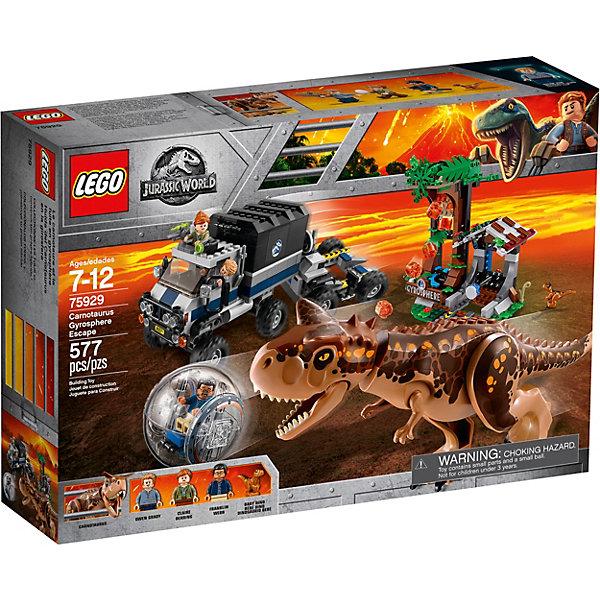 Конструктор LEGO Jurassic World 75929: Побег в гиросфере от карнотавраLEGO Jurassic World<br>Характеристики:<br><br>• возраст: от 7 лет;<br>• материал: пластик:<br>• серия Lego: Jurassic World;<br>• количество деталей: 577;<br>• количество мини-фигурок: 3;<br>• размер грузовика: 12х15х8 см;<br>• размер трейлера: 9х15х10 см;<br>• размер станции: 16х12х20 см;<br>• вес упаковки: 1,1 кг.;<br>• размер упаковки: 38х25х10 см;<br>• страна бренда: Дания.<br><br>Конструктор LEGO Jurassic World 75929: «Побег в гиросфере от карнотавра» включает фигурки Оуэна Грейди из фильма «Парк Юрского периода», Клэр, Франклина, а также детеныша динозавра и большого карнотавра. С этим набором можно разыграть сцену погони динозавра за работниками парка, удирающих не только от хищника, но и от лавы, которая извергается из заброшенной станции.<br><br>Особенности и функционал:<br><br>• у фигурок подвижные ручки и ножки;<br>• у динозавра подвижные лапы и челюсти;<br>• гиросферу можно запускать с прицепа и со станции, внутрь помещается одна фигурка;<br>• в кабину грузовика помещаются две фигурки;<br>• на станции есть механизм для извержения лавы;<br>• набор сочетается с другими наборами Jurassic World.<br><br>Конструктор LEGO Jurassic World 75929: «Побег в гиросфере от карнотавра» можно купить в нашем интернет-магазине.<br>Ширина мм: 382; Глубина мм: 94; Высота мм: 262; Вес г: 1136; Возраст от месяцев: 84; Возраст до месяцев: 168; Пол: Унисекс; Возраст: Детский; SKU: 8005732;