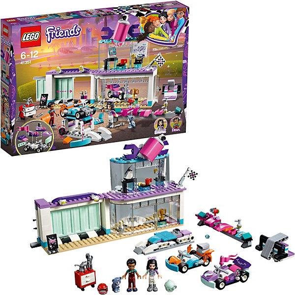 Конструктор LEGO Friends 41351: Мастерская по тюнингу автомобилейПодарочные наборы<br>Характеристики:<br><br>• возраст: от 6 лет;<br>• материал: пластик;<br>• серия Lego: Friends;<br>• количество деталей: 413;<br>• количество мини-фигурок: 2;<br>• размер мастерской: 16х25х6 см;<br>• вес упаковки: 650 гр.;<br>• размер упаковки: 6х38х26 см;<br>• страна бренда: Дания.<br><br>Конструктор Lego Friends «Мастерская по тюнингу автомобилей» включает мини-фигурки Эммы и Дина, а также фигурку котенка Чико. Друзья решили посоревноваться в скорости, но прежде провести тюнинг своих машинок. В мастерской есть необходимые инструменты, а заодно можно подать заявку на участие в гонке. Кто станет победителем?<br><br>Особенности и функционал:<br><br>• выставочный зал с вращающимся полом;<br>• гараж с функцией раздвижных дверей;<br>• наверху мастерской есть офис с письменными столами и компьютером;<br>• для машинок предусмотрена пусковая установка;<br>• набор сочетается с наборами «Грузовик техобслуживания» (41348), «Передвижной ресторан» (41349) и «Большая гонка» (41352).<br><br>Конструктор «Мастерская по тюнингу автомобилей» можно купить в нашем интернет-магазине.<br>Ширина мм: 378; Глубина мм: 261; Высота мм: 63; Вес г: 657; Возраст от месяцев: 72; Возраст до месяцев: 132; Пол: Женский; Возраст: Детский; SKU: 8005798;