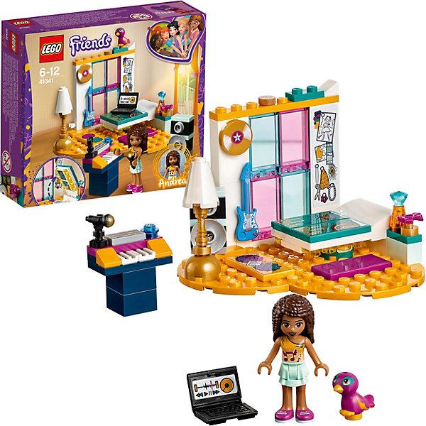 Конструктор LEGO Friends 41341: Комната АндреаLEGO Friends<br>Характеристики:<br><br>• возраст: от 6 лет;<br>• материал: пластик;<br>• серия Lego: Friends;<br>• количество деталей: 85;<br>• количество мини-фигурок: 1;<br>• вес упаковки: 120 гр.;<br>• размер упаковки: 4,5х15,7х14,1 см;<br>• страна бренда: Дания. <br><br>Конструктор Lego Friends «Комната Андреа» включает мини-фигурку девочки и фигурку ее друга попугайчика Пеппер. Андреа не может жить без музыки, поэтому вся ее комната уставлена музыкальными инструментами и оборудованием для записи песен. У певицы есть микрофон, пианино, гитара, виниловый диск, мощную колонку и ноутбук.<br><br>Особенности и функционал:<br><br>• кроватку можно трансформировать в гардеробную с лампами;<br>• пластина-основание выполнена в форме сердечка;<br>• набор можно объединить с комнатами других девочек из серии Lego Friends.<br><br>Конструктор «Комната Андреа» можно купить в нашем интернет-магазине.<br>Ширина мм: 161; Глубина мм: 142; Высота мм: 48; Вес г: 119; Возраст от месяцев: 72; Возраст до месяцев: 132; Пол: Женский; Возраст: Детский; SKU: 8005862;