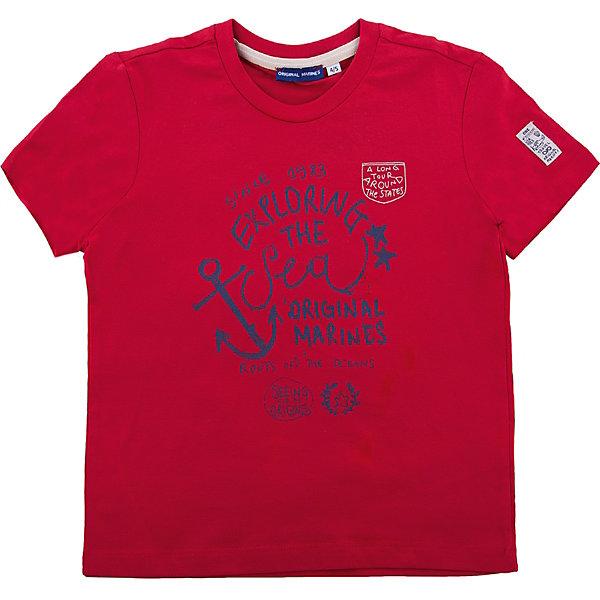 Футболка Original MarinesФутболки, поло и топы<br>Характеристики товара:<br><br>• цвет: красный<br>• состав ткани: 100% хлопок<br>• сезон: лето<br>• короткие рукава<br>• страна бренда: Италия<br><br>Хлопковая футболка для детей - от известного бренда Original Marines, поэтому она отличается высоким качеством и модным дизайном. Хлопковая футболка для ребенка украшена принтом, благодаря которому смотрится стильно и оригинально. Детская футболка сделана из дышащей хлопковой ткани. <br><br>Футболку Original Marines (Ориджинал Маринс) можно купить в нашем интернет-магазине.<br>Ширина мм: 199; Глубина мм: 10; Высота мм: 161; Вес г: 151; Цвет: красный; Возраст от месяцев: 24; Возраст до месяцев: 36; Пол: Мужской; Возраст: Детский; Размер: 104/110,152/158,92/98,140/146,128/134,116/122; SKU: 8015472;