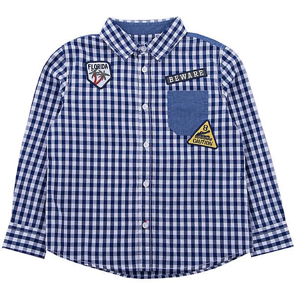Рубашка Original MarinesБлузки и рубашки<br>Характеристики товара:<br><br>• цвет: синий<br>• состав ткани: 100% хлопок<br>• сезон: лето<br>• короткие рукава<br>• страна бренда: Италия<br><br>Стильная рубашка для ребенка нравится детям благодаря стильному дизайну и мягкому материалу. Детская рубашка дополнена мягкой окантовкой ворота. Сорочка для детей от итальянского бренда Original Marines - качественная вещь, созданная европейскими дизайнерами.<br><br>Рубашка с длинным рукавом Original Marines (Ориджинал Маринс) можно купить в нашем интернет-магазине.<br>Ширина мм: 186; Глубина мм: 87; Высота мм: 198; Вес г: 197; Цвет: синий; Возраст от месяцев: 48; Возраст до месяцев: 60; Пол: Мужской; Возраст: Детский; Размер: 104/110,92/98,152/158,140/146,128/134,116/122; SKU: 8015660;