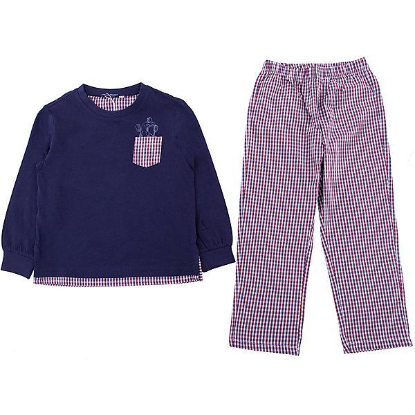 Пижама Original MarinesПижамы и сорочки<br>Характеристики товара:<br><br>• цвет: синий<br>• комплектация: лонгслив, брюки<br>• состав ткани: 100% хлопок<br>• сезон: круглый год<br>• пояс: резинка<br>• длинные рукава<br>• страна бренда: Италия<br><br>Оригинальная детская пижама украшена принтом, который нравится детям. Брюки от пижамы для ребенка и лонгслив хорошо сочетаются между собой, а также могут комбинироваться с другими вещами. Такая детская пижама создает комфортные условия для тела ребенка благодаря натуральному хлопку. <br><br>Пижаму Original Marines (Ориджинал Маринс) можно купить в нашем интернет-магазине.<br>Ширина мм: 281; Глубина мм: 70; Высота мм: 188; Вес г: 295; Цвет: темно-синий; Возраст от месяцев: 48; Возраст до месяцев: 60; Пол: Мужской; Возраст: Детский; Размер: 104/110,92/98,152/158,140/146,128/134,116/122; SKU: 8016246;
