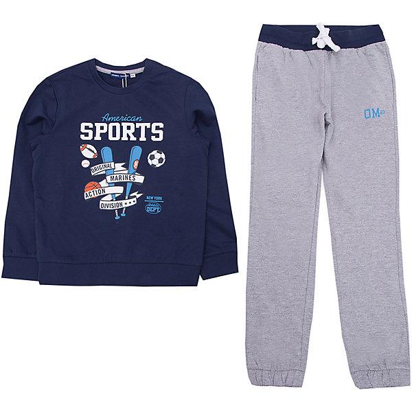 Спортивный костюм Original MarinesСпортивная одежда<br>Характеристики товара:<br><br>• цвет: синий<br>• комплектация: толстовка, брюки<br>• состав ткани: 100% хлопок<br>• сезон: демисезон<br>• особенности модели: спортивный стиль<br>• пояс: резинка, шнурок<br>• длинные рукава<br>• страна бренда: Италия<br><br>Европейский бренд Original Marines - это стильный продуманный дизайн и неизменно высокое качество товаров. Удобный спортивный костюм обеспечит ребенку комфорт благодаря продуманному крою. Спортивный костюм для ребенка сделан из натурального качественного материала. Детский спортивный костюм комфортно сидит, не вызывает неудобств. <br><br>Спортивный костюм Original Marines (Ориджинал Маринс) можно купить в нашем интернет-магазине.<br>Ширина мм: 247; Глубина мм: 16; Высота мм: 140; Вес г: 225; Цвет: темно-синий; Возраст от месяцев: 96; Возраст до месяцев: 108; Пол: Унисекс; Возраст: Детский; Размер: 128/134,152/158,140/146; SKU: 8017592;