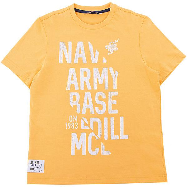 Футболка Original MarinesФутболки, поло и топы<br>Характеристики товара:<br><br>• цвет: оранжевый<br>• состав ткани: 100% хлопок<br>• сезон: лето<br>• короткие рукава<br>• страна бренда: Италия<br><br>Практичная футболка для ребенка нравится детям благодаря стильному дизайну и мягкому материалу. Детская футболка сделана из натурального хлопка. Футболка для детей от итальянского бренда Original Marines - качественная вещь, созданная европейскими дизайнерами.<br><br>Футболку Original Marines (Ориджинал Маринс) можно купить в нашем интернет-магазине.<br>Ширина мм: 199; Глубина мм: 10; Высота мм: 161; Вес г: 151; Цвет: оранжевый; Возраст от месяцев: 132; Возраст до месяцев: 144; Пол: Мужской; Возраст: Детский; Размер: 152,176,164; SKU: 8018517;