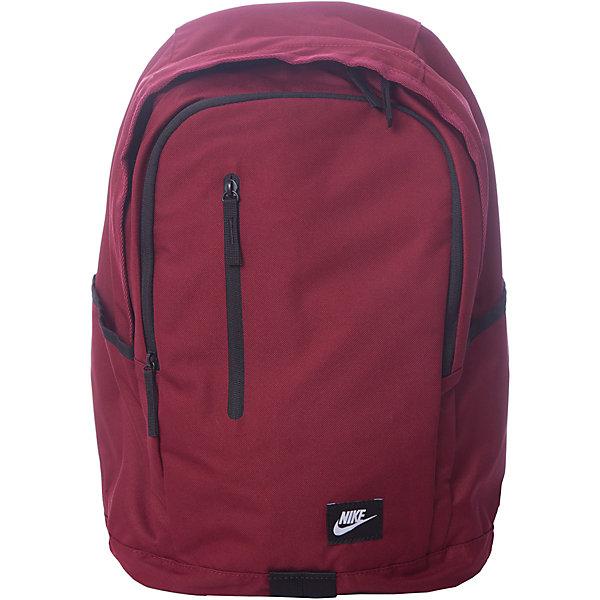 Рюкзак NIKEЧемоданы и дорожные сумки<br>Характеристики товара:<br><br>• цвет: бордовый;<br>• модель: All Access Soleday;<br>• состав: 100% полиэстер;<br>• сезон: круглый год;<br>• застёжка: молния;<br>• количество отделений: 2;<br>• основное отделение вместит всю необходимую экипировку;<br>• внешний карман на молнии;<br>• боковые карманы для хранения бутылок с водой;<br>• мягкие регулируемые лямки и задняя вставка для удобной переноски;<br>• ручка для переноски;<br>• внутренний карман для ноутбука;<br>• размер рюкзака: 43х33х18 см;<br>• страна бренда: США.<br><br>Рюкзак Nike All Access Soleday со множеством карманов помогает держать вещи в порядке и безопасности, выполнен из прочных материалов. Основное отделение на молнии для хранения множества вещей в дороге. Выполнен из плотного полиэстера 600D для защиты экипировки.<br><br>Мягкие регулируемые лямки и спинка для комфортного и удобного ношения. Мягкий внутренний карман для ноутбука для надежной защиты устройства в пути. Основное отделение на молнии с клапаном от дождя для надежного хранения. Передние карманы на молнии и боковые накладные карманы для удобства хранения вещей.<br><br>Рюкзак Nike (Найк) можно купить в нашем интернет-магазине.<br>Ширина мм: 227; Глубина мм: 11; Высота мм: 226; Вес г: 350; Цвет: разноцветный; Возраст от месяцев: 168; Возраст до месяцев: 1188; Пол: Унисекс; Возраст: Детский; Размер: one size; SKU: 8020252;