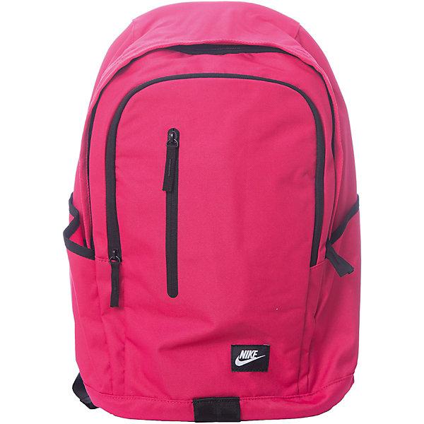 Рюкзак NIKEЧемоданы и дорожные сумки<br>Характеристики товара:<br><br>• цвет: розовый;<br>• модель: All Access Soleday;<br>• состав: 100% полиэстер;<br>• сезон: круглый год;<br>• застёжка: молния;<br>• количество отделений: 2;<br>• основное отделение вместит всю необходимую экипировку;<br>• внешний карман на молнии;<br>• боковые карманы для хранения бутылок с водой;<br>• мягкие регулируемые лямки и задняя вставка для удобной переноски;<br>• ручка для переноски;<br>• внутренний карман для ноутбука;<br>• размер рюкзака: 43х33х18 см;<br>• страна бренда: США.<br><br>Рюкзак Nike All Access Soleday со множеством карманов помогает держать вещи в порядке и безопасности, выполнен из прочных материалов. Основное отделение на молнии для хранения множества вещей в дороге. Выполнен из плотного полиэстера 600D для защиты экипировки.<br><br>Мягкие регулируемые лямки и спинка для комфортного и удобного ношения. Мягкий внутренний карман для ноутбука для надежной защиты устройства в пути. Основное отделение на молнии с клапаном от дождя для надежного хранения. Передние карманы на молнии и боковые накладные карманы для удобства хранения вещей.<br><br>Рюкзак Nike (Найк) можно купить в нашем интернет-магазине.<br>Ширина мм: 227; Глубина мм: 11; Высота мм: 226; Вес г: 350; Цвет: разноцветный; Возраст от месяцев: 168; Возраст до месяцев: 1188; Пол: Унисекс; Возраст: Детский; Размер: one size; SKU: 8020254;