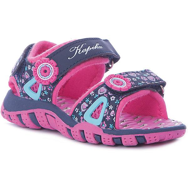 Босоножки Kapika для девочкиБосоножки<br>Характеристики товара:<br><br>• цвет: розовый/синий;<br>• внешний материал: текстиль, эко кожа;<br>• внутренний материал: хлопок 80%, стелька - полимер ;<br>• подошва: ЭВА, ТЭП;<br>• сезон: лето;<br>• цветочный принт;<br>• открытый носок, пятка;<br>• анатомическая подошва;<br>• на липучках;<br>• торговая марка: Капика, Россия;<br><br>Сандалии Kapika для девочки разработаны специально для детей. Модные и легкие, они помогут обеспечить ребенку комфорт и дополнить наряд. Вид застежки: 3 липы. Передние липы регулирую полноту модели. Задняя липа позволяет обувь четко зафиксировать на ноге ребенка.<br><br>Яркая комбинация цветов и принт позволяют обувать их под одежду и головные уборы различных расцветок. Сандали Kapika удобно сидят на ноге и красиво смотрятся. Отличный вариант для теплой погоды!<br><br>Сандали открытые с открытой пяткой для девочки от Kapika можно купить в нашем интернет-магазине.<br>Ширина мм: 219; Глубина мм: 154; Высота мм: 121; Вес г: 343; Цвет: синий; Возраст от месяцев: 18; Возраст до месяцев: 21; Пол: Женский; Возраст: Детский; Размер: 23,27,26,25,24; SKU: 8029906;