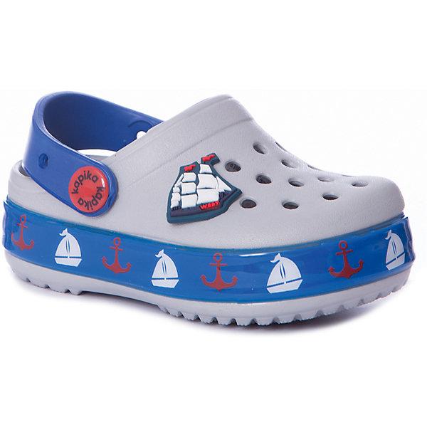 Сабо Kapika для мальчикаПляжная обувь<br>Характеристики товара:<br><br>• цвет: серый/синий/принт;<br>• состав: ЭВА;<br>• сезон: лето;<br>• температурный режим: от +20;<br>• модель: закрытые;<br>• светодиоды, яркий принт;<br>• застежка: съемный пяточный ремешок;<br>• непромокаемые;<br>• вентилируемые;<br>• рельефный рисунок подошвы;<br>• анатомические;<br>• торговая марка: Капика, Россия;<br><br>Сабо для мальчика  Kapika придутся по душе вашему ребенку, ведь они выполнены в яркой комбинации цветов с красивым морским принтом и контрастной подошвой. Такие сабо не оставят никого равнодушным. <br><br>Модель полностью выполнена из полимерного материала. Съемный пяточный ремешок предназначен для фиксации стопы при ходьбе. Рифление на подошве гарантирует идеальное сцепление с любой поверхностью. <br><br>Пляжная обувь Kapika невероятно легкая, мягкая и удобная, быстро сохнет и не оставляет следов на любых поверхностях. Идеальная обувь для дачи и поездки на море.<br><br>Сабо Kapika (Капика) для мальчика можно купить в нашем интернет-магазине.<br>Ширина мм: 225; Глубина мм: 139; Высота мм: 112; Вес г: 290; Цвет: серый; Возраст от месяцев: 24; Возраст до месяцев: 24; Пол: Мужской; Возраст: Детский; Размер: 25,26,24,23; SKU: 8029940;