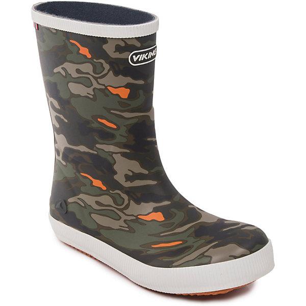 Резиновые сапоги CLASSIC INDIE CAMO Viking для мальчикаРезиновые сапоги<br>Характеристики товара:<br><br>• цвет: зелёный;<br>• внешний материал: резина;<br>• внутренний материал: текстиль;<br>• стелька: текстиль;<br>• подошва: резина;<br>• сезон: демисезон;<br>• температурный режим: от +5 до +15С;<br>• натуральная высококачественная износостойкая резина;<br>• противоскользящая подошва;<br>• подкладка с использованием скрученных волокон не абсорбирует влагу и обеспечивает тепло и комфорт при носке;<br>• вынимающаяся анатомическая стелька с поддержкой в пяточной части<br>• без внутреннего съёмного сапожка;<br>• светоотражающие элементы;<br>• сапоги с принтом в стиле хаки;<br>• страна бренда: Норвегия.<br><br>Абсолютно непромокаемые резиновые сапоги от норвежского бренда Viking. Нескользящая подошва. Текстильная подкладка и стелька для сохранения тепла. Невероятно прочные. Дополнены светоотражающими элементами. Сапоги выполнены из натурального износоустойчивого каучука, который является эластичным, стойким и водонепроницаемым.<br><br>Резиновые сапоги Viking (Викинг) можно купить в нашем интернет-магазине.<br>Ширина мм: 237; Глубина мм: 180; Высота мм: 152; Вес г: 438; Цвет: зеленый; Возраст от месяцев: 24; Возраст до месяцев: 24; Пол: Мужской; Возраст: Детский; Размер: 25,35,34,33,32,31,30,29,28,27,26; SKU: 8037027;