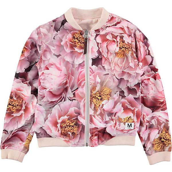 Куртка Molo для девочкиВерхняя одежда<br>Характеристики товара:<br><br>• цвет: розовый/принт<br>• состав ткани: 100% полиэстер<br>• подкладка: 100% полиэстер<br>• сезон: демисезон<br>• температурный режим: от +10<br>• тип модели: бомбер <br>• застежка: молния<br>• длинные рукава<br>• эластичные манжеты<br>• цветочный принт <br>• бренд, страна бренда: Molo, Дания<br><br>Если юная модница любит быть в центре внимания, то куртка-бомбер от датского бренда Molo с ярким цветочным принтом станет идеальным вариантом для повседневного или спортивного образа! Модель оборудована замком-молнией и эластичными манжетами. <br> <br>Бренд Molo создает коллекции стильной и качественной одежды для мальчиков и девочек. Эта марка выбрала для себя городской стиль, смесь веселья и остроумных деталей. <br><br>Куртку-бомбер  Molo (Моло) для девочки можно купить в нашем интернет-магазине.<br>Ширина мм: 356; Глубина мм: 10; Высота мм: 245; Вес г: 519; Цвет: розовый; Возраст от месяцев: 48; Возраст до месяцев: 60; Пол: Женский; Возраст: Детский; Размер: 140,128,122,116,110,152; SKU: 8037851;