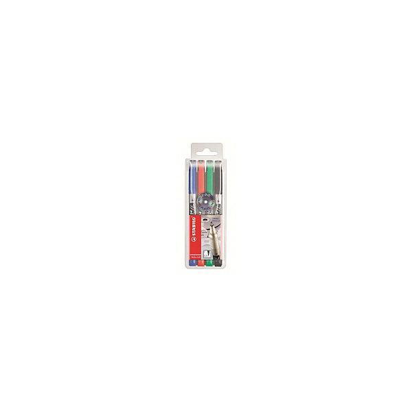 Набор маркерных перманентных ручек Stabilo Write-4-All 0,7 мм, 4 штМаркеры<br>Характеристики:<br><br>• маркер-ручка;<br>• цвет: синий, красный, зеленый, черный;<br>• в комплекте 4 шт.;<br>• длина ручки - 14,5 см.;<br>• ширина линии - 0,7 мм;<br>• предназначение - для любых поверхностей;<br>• упаковка: пластиковый футляр с европодвесом;<br>• размер упаковки: 15х6х1,5 см;<br>• вес: 50 г.;<br>• бренд, страна: STABILO, Германия.<br><br>Набор маркерных перманентных ручек STABILO WRITE -  маркерные ручки с перманентными/водостойкими чернилами. Набор из четырех цветов: красный, зеленый, черный, синий. Пишут практически на всех видах поверхностей, включая стекло, металл, алюминиевую фольгу и т.д. Идеально подходят для нанесения надписей на CD/DVD дисках. Надписи мгновенно высыхают, не стираются и не размазываются. Чернила на спиртовой основе имеют нейтральный запах, высокую свето- и морозоустойчивость. <br>Пишущие наконечники проводят линию толщиной 0,7 мм.<br><br>Набор маркерных ручек - отличный помощник для развития творческих способнеостей, мелкой моторики, фантазии, усидчивости и других полезных навыков. Также подойдет для подготовки различных презентаций в школе.<br><br>Набор маркерных перманентных ручек STABILO WRITE, 4 цвета, можно купить в нашем интернет-магазине.<br>Ширина мм: 58; Глубина мм: 153; Высота мм: 17; Вес г: 47; Цвет: разноцветный; Возраст от месяцев: 36; Возраст до месяцев: 2147483647; Пол: Унисекс; Возраст: Детский; SKU: 8058271;