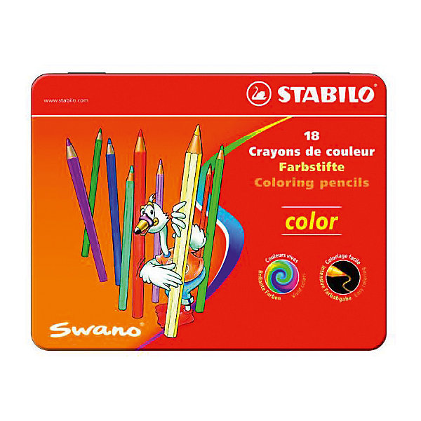 Набор цветных карандашей Stabilo, 18 цветов, в металлическом футляреКарандаши<br>Характеристики:<br><br>• цветные карандаши;<br>• в комплекте 18 шт.;<br>• диаметр карандаша: 0,7 см.<br>• диаметр грифеля: 2,5 мм.;<br>• длина карандаша: 9,5 см.;<br>• форма наконечника: треугольник;<br>• предназначение - для бумаги;<br>• упаковка: металлический футляр;<br>• размер упаковки: 18х14х1 см;<br>• вес: 180 г.;<br>• бренд, страна: STABILO, Германия.<br><br>Детская серия цветных карандашей STABILO SWANO Сolor в металлических футлярах. Широкая гамма цветов, которые отлично смешиваются и позволяют создавать огромное количество оттенков. Насыщенные цвета имеют высокую светостойкость. Мягкий грифель легко рисует на бумаге, не царапая ее и не крошась. Карандаши не ломаются при рисовании и затачивании. <br><br>Набор цветных карандашей - отличный помощник для развития творческих способностей, мелкой моторики, фантазии, усидчивости и других полезных навыков у детей. Также подойдет для подготовки различных презентаций в детский сад и школу.<br><br>Набор цветных карандашей STABILO SWANO Сolor в металлическом футляре, 18 цветов, можно купить в нашем интернет-магазине.