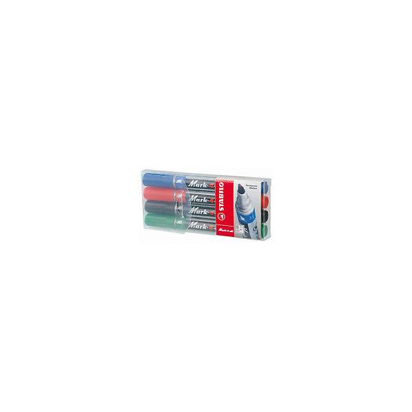 Набор перманентных маркеров Stabilo Mark-4-All 1-4 мм, 4 штМаркеры<br>Характеристики:<br><br>• перманентные;<br>• цвет: синий, красный, зеленый, черный;<br>• в комплекте 4 шт.;<br>• наконечник - клиновидный;<br>• ширина линии - 1,5 -2,5 мм;<br>• предназначение - для любых поверхностей;<br>• упаковка: пластиковый футляр с европодвесом;<br>• размер упаковки: 14х6х1,8 см;<br>• вес: 70 г.;<br>• бренд, страна: STABILO, Германия.<br><br>Набор перманентных маркеров STABILO MARK с несмываемыми чернилами идеально подходит для рисования и маркировки практически на любых поверхностях. Имеют цилиндрический полипропиленовый корпус с клиновидным наконечником. Чернила с нейтральным запахом имеют высокую водостойкость, светостойкость и морозостойкость, мгновенно высыхают, не размазываются.<br><br>Набор цветных маркеров - отличный помощник для развития творческих способнеостей, мелкой моторики, фантазии, усидчивости и других полезных навыков.<br><br>Набор перманентных маркеров STABILO MARK, 4 цвета, можно купить в нашем интернет-магазине.<br>Ширина мм: 16; Глубина мм: 140; Высота мм: 60; Вес г: 70; Цвет: разноцветный; Возраст от месяцев: 36; Возраст до месяцев: 2147483647; Пол: Унисекс; Возраст: Детский; SKU: 8058275;