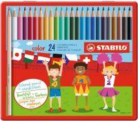 Набор цветных карандашей Stabilo, 24 цвета, в металлическом футляре, артикул:8058281 - Рисование и раскрашивание