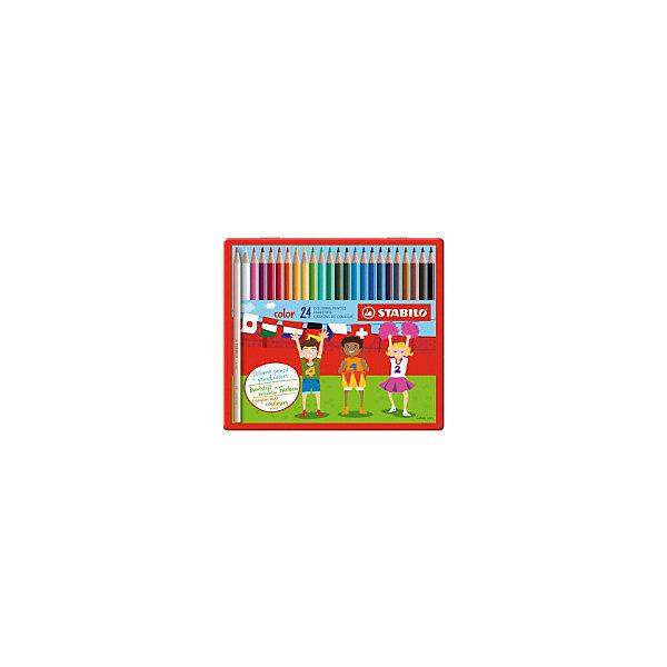 Набор цветных карандашей Stabilo, 24 цвета, в металлическом футляреКарандаши<br>Характеристики:<br><br>• цветные карандаши;<br>• в комплекте 24 шт.;<br>• диаметр карандаша: 0,7 см.<br>• диаметр грифеля: 2,5 мм.;<br>• длина карандаша: 17,5 см.;<br>• форма наконечника: треугольник;<br>• предназначение - для бумаги;<br>• упаковка: металлический футляр;<br>• размер упаковки: 21,5х19х1 см;<br>• вес: 280 г.;<br>• бренд, страна: STABILO, Германия.<br><br>Детская серия цветных карандашей STABILO SWANO Сolor в металлических футлярах. Широкая гамма цветов, которые отлично смешиваются и позволяют создавать огромное количество оттенков. Насыщенные цвета имеют высокую светостойкость. Мягкий грифель легко рисует на бумаге, не царапая ее и не крошась. Карандаши не ломаются при рисовании и затачивании. <br><br>Набор цветных карандашей - отличный помощник для развития творческих способностей, мелкой моторики, фантазии, усидчивости и других полезных навыков у детей. Также подойдет для подготовки различных презентаций в детский сад и школу.<br><br>Набор цветных карандашей STABILO SWANO Сolor в металлическом футляре, 24 цвета, можно купить в нашем интернет-магазине.<br>Ширина мм: 215; Глубина мм: 10; Высота мм: 190; Вес г: 279; Цвет: разноцветный; Возраст от месяцев: 36; Возраст до месяцев: 2147483647; Пол: Унисекс; Возраст: Детский; SKU: 8058281;