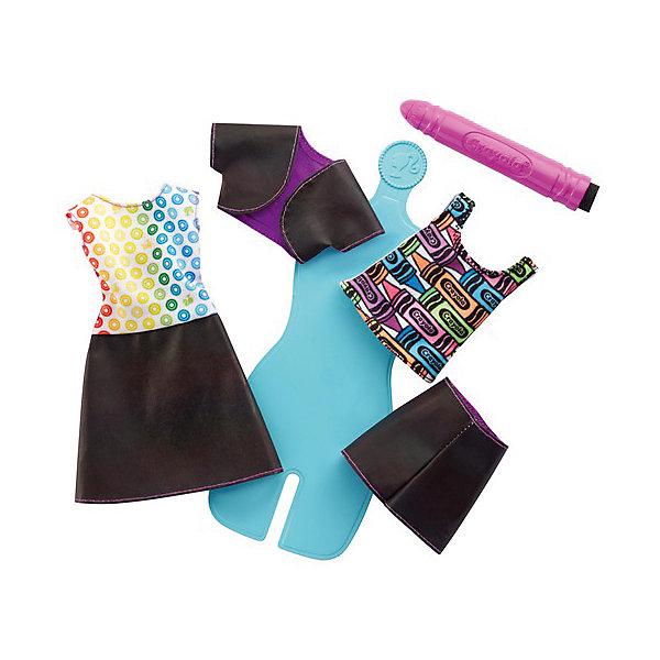Mattel Игровой набор Barbie Crayola Раскрась наряды Радужный дизайн, с голубым манекеном набор раскрась котенка мягк игр флом д ткани от 3 лет 69wc