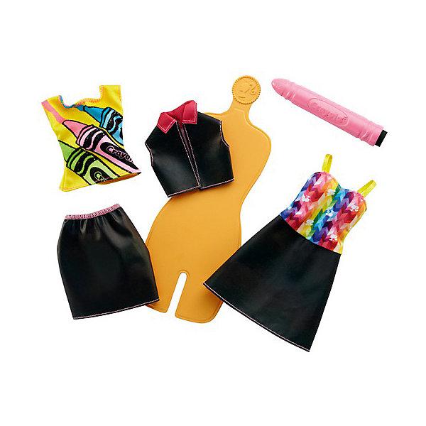 Mattel Игровой набор Barbie Crayola Раскрась наряды Радужный дизайн, с оранжевым манекеном набор раскрась котенка мягк игр флом д ткани от 3 лет 69wc