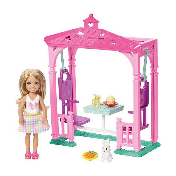 Mattel Игровой набор с мини-куклой Barbie Челси с беседкой игровой набор barbie mattel паровозик челси