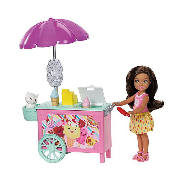Mattel Игровой набор с мини-куклой Barbie Челси с тележкой мороженого игровой набор barbie mattel паровозик челси