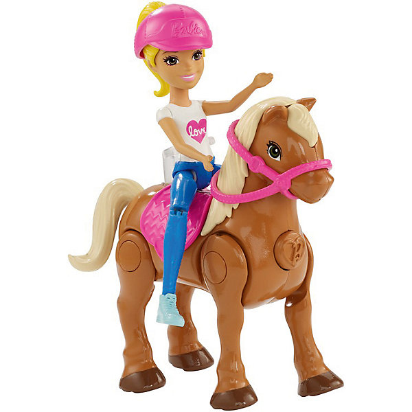 Купить Игровой набор с мини-куклой Barbie В движении Пони и кукла в розовом шлеме, Mattel, Китай, Женский