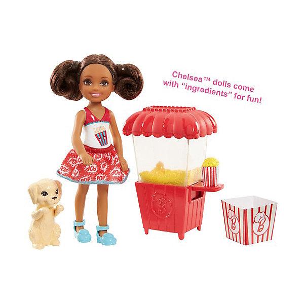 Mattel Игровой набор с мини-куклой Barbie Челси и щенок Ларёк попкорном