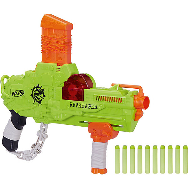 Игрушка Бластер Нёрф Зомби Реврипер, NerfИгрушечные пистолеты и бластеры<br>Характеристики товара:<br><br>• возраст: от 8 лет;<br>• материал: пластик;<br>• в комплекте: бластер, 10 стрел;<br>• размер упаковки: 58,4х28х6,4 см;<br>• вес упаковки: 900 гр.<br><br>Бластер Nerf Zombie Strike RevReaper позволит детям поохотиться на зомби. Как и бластеры данной серии Зомби он окрашен в салатовые и оранжевые цвета, дополнен необычными элементами в виде имитации бинтов и цепи. Он оснащен удобной рукояткой. Чтобы произвести выстрел, надо потянуть за рукоятку. Патроны выполнены из безопасного мягкого материала и не нанесут травм во время игры. Они окрашены в яркие цвета, поэтому их легко найти на земле или в траве.<br><br>Бластер Nerf Zombie Strike RevReaper можно приобрести в нашем интернет-магазине.<br>Ширина мм: 67; Глубина мм: 584; Высота мм: 280; Вес г: 900; Возраст от месяцев: 96; Возраст до месяцев: 2147483647; Пол: Мужской; Возраст: Детский; SKU: 8073985;
