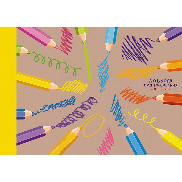 Канц-Эксмо Альбом для рисования Канц-Эксмо Штрихи и краски, 40 листов альбом для рисования 40л а4 эксмо серия золотые маки на склейке