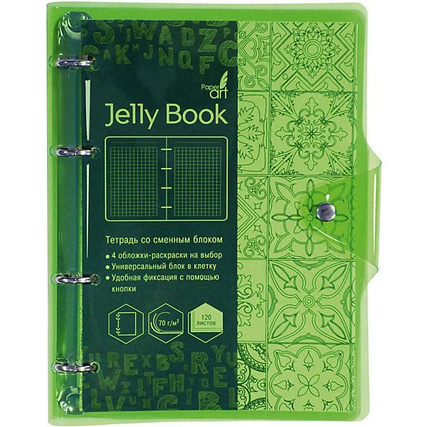 Тетрадь со сменными блоками Канц-Эксмо Jelly Book А5, 120 листов, неоново-салатовыйТетради<br>Характеристики<br><br>• количество в наборе: 120 листов;<br>• формат: А5;<br>• плотность бумаги: 70 гр./кв.м.;<br>• внутренний блок: офсетная бумага;<br>• обложка: гибкий прозрачный пластик, 4 раскраски;<br>• цвет: неоново-салатовый;<br>• крепление: на кольцах;<br>• размер: 21,5х17х1,2;<br>• вес: 360 гр.<br><br>Тетрадь на кольцах Jelly Book. Неоново-салатовый А5, 120л прозрачная, яркая, светящаяся и красочная обложка из гнущегося пластика с яркими неоновыми срезами позволяет рассмотреть тонкости и детали изделия и привлечь внимание.<br><br>Прочная металлическая кнопка защищает и одновременно украшает яркий аксессуар. Уникальное наполнение тетради рассчитано на молодых и креативных пользователей. Первые четыре страницы занимают раскраски.<br><br>Канц-Эксмо Тетрадь на кольцах Jelly Book. Неоново-салатовый А5, 120 л. можно купить в нашем интернет-магазине.<br>Ширина мм: 215; Глубина мм: 170; Высота мм: 12; Вес г: 360; Цвет: разноцветный; Возраст от месяцев: 72; Возраст до месяцев: 2147483647; Пол: Унисекс; Возраст: Детский; SKU: 8074892;
