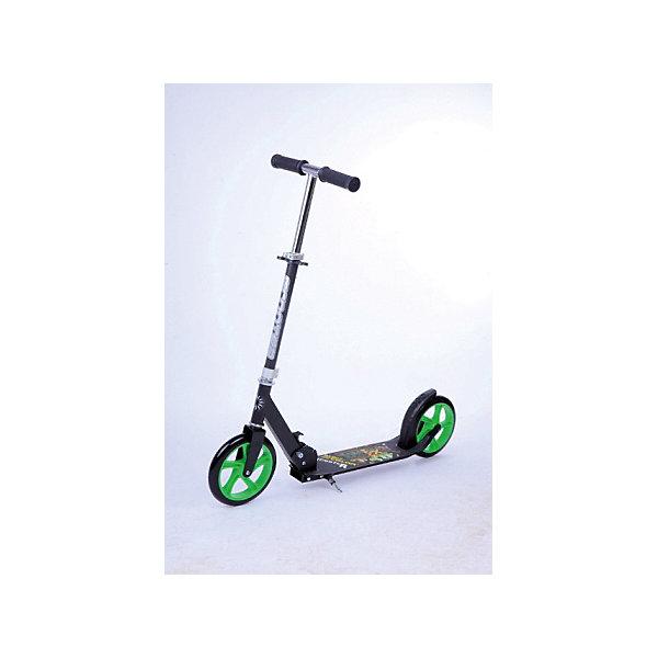 Детский самокат Maxi, черно-зеленыйДвухколесные самокаты<br>Характеристики:<br><br>• возраст: от 7 лет<br>• максимальная нагрузка: до 100 кг<br>• подшипник: АВЕС 7<br>• размер деки: 52х11 см<br>• колеса: 200 мм<br>• материал колес: ПВХ<br>• рама: алюминий<br>• дека: сталь<br>• рост ребенка: от 145 до 195 см<br>• размер упаковки: 12х75х34 см<br>• вес: 3,8 кг<br><br>С двухколесным самокатом Buggy Boom ваш ребенок сможет научиться держать равновесие, укрепить вестибурярный аппарат, просто наслаждаясь прогулкой. Он имеет надежную конструкцию и ручки с противоскользящей поверхностью. Руль складывается и регулируется по высоте. Катание на самокате развивает координацию. <br><br>Детский самокат Buggy Boom можно купить в нашем интернет-магазине.<br>Ширина мм: 120; Глубина мм: 750; Высота мм: 340; Вес г: 4630; Цвет: schwarz/gr?n; Возраст от месяцев: 84; Возраст до месяцев: 216; Пол: Унисекс; Возраст: Детский; SKU: 8074955;