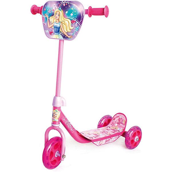 Трёхколёсный самокат Next Barbie, розовыйСамокаты<br>Характеристики товара:<br><br>• возраст: от 2 лет;<br>• максимальная нагрузка: 25 кг;<br>•материал: сталь;<br>• диаметр переднего колеса: 145 мм;<br>• диаметр задних колес: 120 мм;<br>• материал колес: ПВХ;<br>• размер самоката: 63х56х35 см;<br>• размер упаковки: 52х40х39 см;<br>• вес упаковки: 2,53 кг.<br><br>Самокат трехколесный «Barbie» подойдет для самых юных пользователей от 2 лет. Благодаря двум задним колесам достигается хорошая устойчивость, что позволяет малышам легко осваивать навыки езды на самокате. <br><br>Рама самоката выполнена из прочной стали и выдержит небольшие удары. Колеса из ПВХ мягко едут по асфальту и не гремят, развивают хорошую скорость. На ручках руля удобные прорезиненные грипсы с ограничителями. Руль украшен щитком с изображениями любимых персонажей.<br><br>Самокат трехколесный «Barbie» розовый можно приобрести в нашем интернет-магазине.<br>Ширина мм: 560; Глубина мм: 590; Высота мм: 360; Вес г: 2530; Цвет: розовый/розовый; Возраст от месяцев: 24; Возраст до месяцев: 48; Пол: Унисекс; Возраст: Детский; SKU: 8264176;