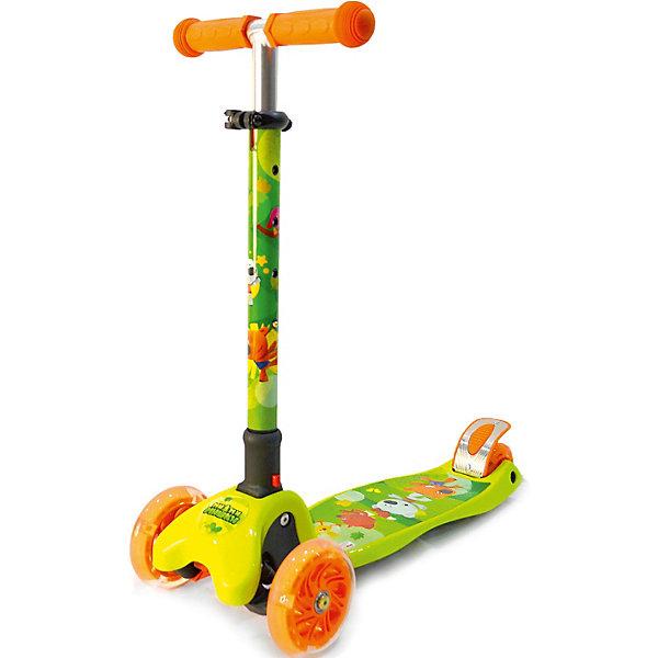 Трёхколёсный самокат Next Ми-ми-мишки, зелёныйСамокаты<br>Характеристики товара:<br><br>• возраст: от 2 лет;<br>• максимальная нагрузка: 60 кг;<br>• материал: алюминий;<br>• диаметр передних колес: 120 мм;<br>• диаметр заднего колеса: 80 мм;<br>• материал колес: полиуретан;<br>• высота рулевой стойки: 53-76 см;<br>• размер деки: 30х13 см;<br>• подшипники: АВЕС 7;<br>• ножной тормоз;<br>• размер самоката: 57х26х53-76 см;<br>• размер упаковки: 61х47х39 см;<br>• вес упаковки: 3,23 кг.<br><br>Самокат трехколесный «Мимимишки» подойдет для юных пользователей от 2 лет. Благодаря двум передним колесам самокат обладает хорошей устойчивостью, что позволяет малышам легко обучаться катанию на самокате. Управление самокатом осуществляется путем наклона рулевой стойки.<br><br>Колеса из износостойкого полиуретана развивают хорошую скорость, не скользят и не шумят по асфальту. Колеса светятся, делая катание особенно эффектным в темное время суток. <br><br>Руль регулируется под рост растущего малыша. На ручках руля удобные прорезиненные грипсы. Дека имеет нескользящую поверхность, не давая обуви соскальзывать с нее во время катания. Для безопасного катания предусмотрен ножной тормоз на заднем колесе. Самокат складывается для хранения дома и транспортировки.<br><br>Самокат трехколесный «Мимимишки» можно приобрести в нашем интернет-магазине.<br>Ширина мм: 570; Глубина мм: 760; Высота мм: 260; Вес г: 3230; Цвет: gr?n/orange; Возраст от месяцев: 24; Возраст до месяцев: 48; Пол: Унисекс; Возраст: Детский; SKU: 8264182;