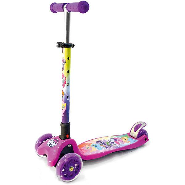 Трёхколёсный самокат Next My Little Pony, фиолетовыйСамокаты<br>Характеристики товара:<br><br>• возраст: от 2 лет;<br>• максимальная нагрузка: 60 кг;<br>• материал: алюминий;<br>• диаметр передних колес: 120 мм;<br>• диаметр заднего колеса: 80 мм;<br>• материал колес: полиуретан;<br>• высота рулевой стойки: 53-76 см;<br>• размер деки: 30х13 см;<br>• подшипники: АВЕС 7;<br>• ножной тормоз;<br>• размер самоката: 57х26х53-76 см;<br>• размер упаковки: 61х47х39 см;<br>• вес упаковки: 3,23 кг.<br><br>Самокат трехколесный «Мимимишки» подойдет для юных пользователей от 2 лет. Благодаря двум передним колесам самокат обладает хорошей устойчивостью, что позволяет малышам легко обучаться катанию на самокате. Управление самокатом осуществляется путем наклона рулевой стойки.<br><br>Колеса из износостойкого полиуретана развивают хорошую скорость, не скользят и не шумят по асфальту. Колеса светятся, делая катание особенно эффектным в темное время суток. <br><br>Руль регулируется под рост растущего малыша. На ручках руля удобные прорезиненные грипсы. Дека имеет нескользящую поверхность, не давая обуви соскальзывать с нее во время катания. Для безопасного катания предусмотрен ножной тормоз на заднем колесе. Самокат складывается для хранения дома и транспортировки.<br><br>Самокат трехколесный «Мимимишки» можно приобрести в нашем интернет-магазине.<br>Ширина мм: 580; Глубина мм: 230; Высота мм: 550; Вес г: 3230; Цвет: разноцветный; Возраст от месяцев: 24; Возраст до месяцев: 48; Пол: Унисекс; Возраст: Детский; SKU: 8264241;