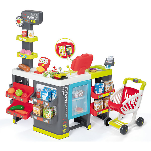 Smoby Игровой набор Smoby MAXI Market Супермаркет с тележкой, 50 предметов игровой супермаркет звуковой с тележкой 17 предметов