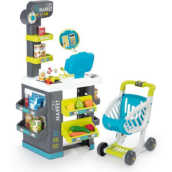 Игровой набор Smoby City Market Супермаркет с тележкой, 34 предметаДетский супермаркет<br>Характеристики товара:<br><br>• возраст: от 3 лет<br>• материал: пластик, картон<br>• в комплекте: супермаркет, касса с калькулятором, сканер, купюры и монеты, муляжи продуктов<br>• работает от батареек<br>• наличие батареек: входят в комплект<br>• размер изделия в собранном виде: 48,9х38,5х89,6 см<br>• световые и звуковые эффекты<br>• упаковка: картонная коробка<br>• вес в упаковке: 3,58 кг.<br>• размер упаковки: 49х24х70 см<br>• страна бренда: Франция<br><br>Супермаркет со множеством аксессуаров для более интересной и реалистичной игры в магазин. Кассовый аппарат дополнен настоящим калькулятором, а сканер при работе производит звуковые эффекты и светится. Есть специальные полочки, чтобы можно было красиво расставить продукты, всего в комплект 34 аксессуара. Предусмотрена тележка для покупок.