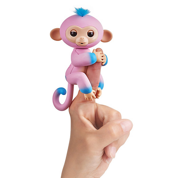 WowWee Интерактивная обезьянка Fingerlings Канди, 12 с, (розовая с голубым)