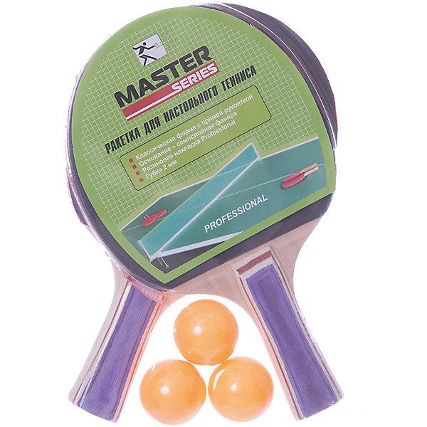 Набор для игры в Пинг-понг Master, 5 предметов, зеленыйБадминтон и теннис<br>Характеристики товара:<br><br>• возраст: от 6 лет;<br>• комплект: 2 ракетки, 3 шарика;<br>• из чего сделана игрушка (состав): дерево, ПВХ, пластик;<br>• размер упаковки: 21х4х30 см.;<br>• вес: 350 гр.;<br>• упаковка: блистер.<br><br>Набор для пинг-понга состоит из двух ракеток и 3 шариков для игры.<br>Рукоятки ракеток выполнены из прочной шлифованной древисины, а сама поверхность ракетки покрыта тонкой резиной.<br>Шарики для игры выполнены из пластика.<br>Занятия пинг-понгом развивают внимание, а также принесут массу пользы для здоровья и развития ребенка, ведь именно в раннем возрасте формируется почва для будущей физической формы и характера.<br><br>Пинг-понг можно купить в нашем интернет-магазине.<br>Ширина мм: 210; Глубина мм: 40; Высота мм: 300; Вес г: 350; Возраст от месяцев: 72; Возраст до месяцев: 2147483647; Пол: Унисекс; Возраст: Детский; SKU: 8269386;