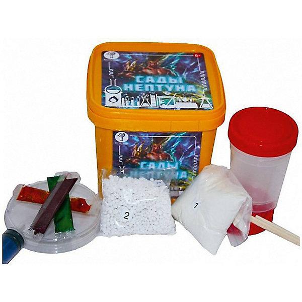 Набор для опытов Воробышкин Сады НептунаХимия и физика<br>Характеристики товара:<br><br>• возраст: от 6 лет;<br>• комплект: химические материалы, аксессуары, инструкция;<br>• размер упаковки: 12х10,5х10,5 см.;<br>• упаковка: пластиковая коробка;<br>• вес в упаковке: 150 гр.;<br>• бренд, страна: ТМ Воробышкин, Россия.<br><br>Набор для опытов «Сады Нептуна» от ТМ Воробышкин - развлечет ребенка и познакомит его с некоторыми физико-химическими явлениями. <br><br>Попробуй вырастить у себя маленьких медуз, разноцветных червяков и разноцветную икру. Они появляются из ниоткуда, прямо в прозрачной жидкости. Опыт может быть представлен  в виде фокуса на детских праздниках. Возможно повторение опыта несколько раз.<br><br>Набор для опытов - это увлекательное занятие, которое может стать первым шагом ребенка на пути изучения естественных наук, а также это прекрасная возможность полезно провести время со своим ребенком.<br><br>Рекомендуемый возраст: от 6 лет, под наблюдением взрослых. Набор не содержит ядовитых и опасных веществ. <br><br>Набор для опытов «Сады Нептуна» от ТМ Воробышкин можно купить в нашем интернет-магазине.