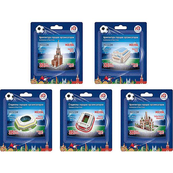 Набор 3D пазлов IQ-puzzle Москва 5 шт., архитектура, стадионы3D пазлы<br>Характеристики товара:<br><br>• возраст: от 6 лет;<br>• комплект: 5 пазлов;<br>• материал: пенокартон;<br>• упаковка: пакет с европодвесом;<br>• размер упаковки: 14х12,5х4 см.;<br>• вес: 160 гр.;<br>• бренд, страна бренда: IQ PUZZLE, Россия<br><br>Набо 3D-пазлов «Москва», включает в себя пазлы:<br><br>- 3D пазл Большой театр,<br>- 3D пазл Спасская башня,<br>- 3D пазл Храм Василия Блаженного,<br>- 3D пазл Москва Лужники,<br>- 3D пазл Москва Спартак. <br><br>Детали набора отлично проработаны, идеально и легко собирается без использования дополнительных инструментов, отличаются непревзойденным дизайном и рисунком.<br>Собранный макет можно поставить на видное место, он станет замечательным дополнением для любого интерьера. <br><br>Конструирование пазлов способствует развитию внимания, зрительного восприятия, логического и образного мышления, мелкой моторики рук. Тренирует навык восприятия новой информации, расширяет кругозор и обогащает внутренний мир ребенка.<br><br>Набо 3D-пазлов «Москва», 5 пазлов (архитектура + 2 стадиона), IQ PUZZLE можно купить в нашем интернет-магазине.<br>Ширина мм: 125; Глубина мм: 40; Высота мм: 140; Вес г: 160; Возраст от месяцев: 60; Возраст до месяцев: 2147483647; Пол: Унисекс; Возраст: Детский; SKU: 8271217;