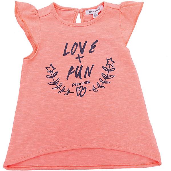 Футболка 3pommes для девочкиФутболки, поло и топы<br>Характеристики товара:<br><br>• цвет: розовый<br>• состав ткани: 100% хлопок<br>• сезон: лето<br>• застежка: пуговица<br>• короткие рукава<br>• страна бренда: Франция<br><br>Яркая трикотажная футболка для детей стильно смотрится благодаря оригинальному принту. Эта футболка для ребенка от популярного европейского бренда 3 Pommes - универсальная базовая вещь. Материал этой детской футболки - преимущественно легкий натуральный хлопок, который создает комфортные условия для тела. <br><br>Футболку 3 Pommes (3 Поммис) для девочки можно купить в нашем интернет-магазине.<br>Ширина мм: 199; Глубина мм: 10; Высота мм: 161; Вес г: 151; Цвет: розовый; Возраст от месяцев: 6; Возраст до месяцев: 9; Пол: Женский; Возраст: Детский; Размер: 74,92,98,80,86; SKU: 8274113;