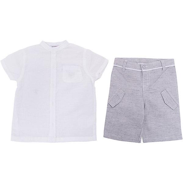 Комплект:рубашка, шорты 3 Pommes для мальчикаКомплекты<br>Характеристики товара:<br><br>• цвет: белый<br>• комплектация: рубашка, шорты<br>• состав ткани: 55% хлопок 45% лен / 100% лен<br>• сезон: лето<br>• застежка: кнопки, пуговица<br>• короткие рукава<br>• шлевки<br>• страна бренда: Франция<br><br>Такой летний детский комплект сделан из натурального льна и хлопка, который не вызывает аллергии и прост в уходе. Этот комплект для детей смотрится очень стильно, при этом отлично подходит для жаркой погоды. Легкий комплект для ребенка от известного французского бренда 3 Pommes состоит из рубашки и шорт.<br><br>Комплект: рубашка, шорты 3 Pommes (3 Поммис) для мальчика можно купить в нашем интернет-магазине.<br>Ширина мм: 174; Глубина мм: 10; Высота мм: 169; Вес г: 157; Цвет: белый; Возраст от месяцев: 18; Возраст до месяцев: 24; Пол: Мужской; Возраст: Детский; Размер: 92,74,86,98; SKU: 8274305;