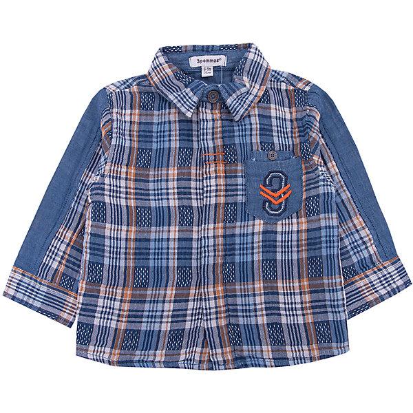Рубашка 3pommes для мальчикаТолстовки, свитера, кардиганы<br>Характеристики товара:<br><br>• цвет: синий<br>• состав ткани: 100% хлопок<br>• сезон: демисезон<br>• застежка: пуговицы<br>• длинные рукава<br>• страна бренда: Франция<br><br>Клетчатая детская рубашка сделана из натурального материала - дышащего хлопка. Рубашка для ребенка от французского бренда 3 Pommes отличается классическим силуэтом и карманом на груди. Эта рубашку для детей стильно смотрится благодаря вставкам из однотонной ткани. <br><br>Рубашку 3 Pommes (3 Поммис) для мальчика можно купить в нашем интернет-магазине.<br>Ширина мм: 174; Глубина мм: 10; Высота мм: 169; Вес г: 157; Цвет: синий; Возраст от месяцев: 6; Возраст до месяцев: 9; Пол: Мужской; Возраст: Детский; Размер: 74,80,98,92,86; SKU: 8274389;