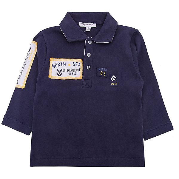 Футболка-поло с длинным рукавом 3 Pommes для мальчикаФутболки с длинным рукавом<br>Характеристики товара:<br><br>• цвет: синий<br>• состав ткани: 98% хлопок, 2% полиэстер<br>• сезон: лето<br>• застежка: пуговицы<br>• длинные рукава<br>• страна бренда: Франция<br><br>Синяя футболка-поло для ребенка от французского бренда 3 Pommes - классического кроя. Детская футболка-поло с длинным рукавом выполнена в практичной расцветке. Материал этой детской футболки - плотный и приятный на ощупь, легко стирается. Такая футболка-поло для детей стильно смотрится и отлично сочетается с различными брюками, джинсами и шортами.<br><br>Футболку-поло 3 Pommes (3 Поммис) для мальчика можно купить в нашем интернет-магазине.<br>Ширина мм: 199; Глубина мм: 10; Высота мм: 161; Вес г: 151; Цвет: темно-синий; Возраст от месяцев: 12; Возраст до месяцев: 15; Пол: Мужской; Возраст: Детский; Размер: 80,74,98,92,86; SKU: 8274391;