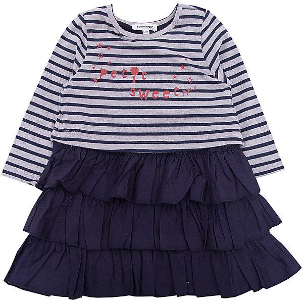 Платье 3pommes для девочкиПлатья и сарафаны<br>Характеристики товара:<br><br>• цвет: синий<br>• состав ткани: 88% хлопок, 12% полиэстер/ 100% вискоза<br>• сезон: демисезон<br>• длинные рукава<br>• страна бренда: Франция<br><br>Модное детское платье декорировано принтом и воланами на подоле, это делает его оригинальной и стильной вещью. Такое платье для детей выполнено из качественной ткани - в том числе, хлопка, который позволяет телу дышать и не вызывает аллергии. Это платье для ребенка от известного бренда 3 Pommes из Франции отличается модным в этом сезоне силуэтом. <br><br>Платье 3 Pommes (3 Поммис) для девочки можно купить в нашем интернет-магазине.<br>Ширина мм: 236; Глубина мм: 16; Высота мм: 184; Вес г: 177; Цвет: темно-синий; Возраст от месяцев: 6; Возраст до месяцев: 9; Пол: Женский; Возраст: Детский; Размер: 74,80,92,86; SKU: 8274490;