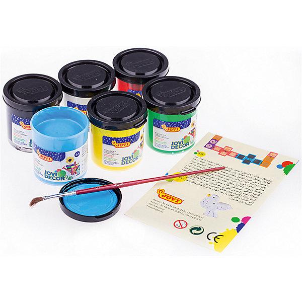 Акриловые краски JOVI, 6 цветовКраски<br>Характеристики:<br><br>• возраст: от 3 лет;<br>• в комплекте: 6 баночек красок, кисть пони; <br>• количество цветов: 6;<br>• размер упаковки: 15,2х10,2х5,2 см.;<br>• вес в упаковке: 476 гр.;<br>• объем емкости: 55 мл.;<br>• упаковка ед. товара: картонная коробка; <br>• страна бренда: Испания.<br><br>Акриловые краски JOVI (Джови) выполнены на водной основе с глянцевым эффектом. Хорошо ложится на различные поверхности, устойчива к выцветанию. <br><br>Равномерно высыхают, сохраняя яркость цвета и образуя водостойкий слой. Шесть ярких базовых цветов  (белый, желтый, красный, зеленый, синий, черный).<br><br>Акриловые краски JOVI (Джови), 6 цветов можно купить в нашем интернет-магазине.<br>Ширина мм: 152; Глубина мм: 102; Высота мм: 52; Вес г: 476; Возраст от месяцев: 36; Возраст до месяцев: 2147483647; Пол: Унисекс; Возраст: Детский; SKU: 8276446;