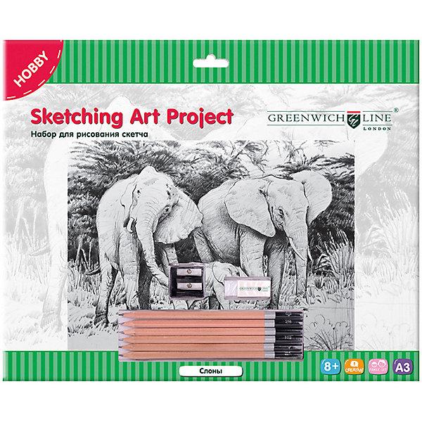 Greenwich Line Набор для рисования скетча «Слоны»